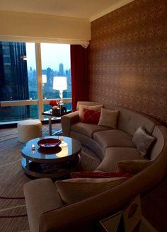 The New York Sunrise: Central Park View Suite living room at Mandarin Oriental, New York Design Suites, Mandarin Oriental, Sofa, Couch, Orange Juice, Central Park, Biscuits, Sunrise, New York