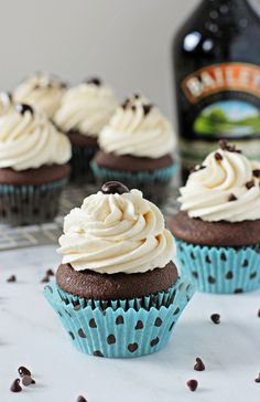 Recipe for Irish cream cupcakes. A moist chocolate base with coffee and Irish cream to deepen the flavor. Topped with a silky Irish cream buttercream.