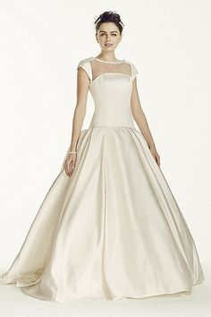Satin Cap Sleeve Beaded Ball Gown CJS720