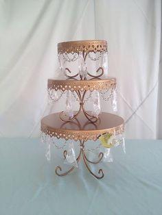 Opulent Treasures Set of 3 Gold Wedding Crystal Tiered Cupcake Cake Stand | eBay $114.95