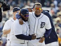 Image detail for -Detroit Tigers' Prince Fielder, left, and Miguel Cabrera walk off the field after their 3-2 win over the Boston Red Sox in a baseball game in Detroit, Thursday ...