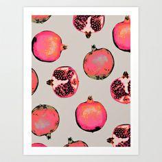 Pomegranate Pattern Art Print by Georgiana Paraschiv - $18.00