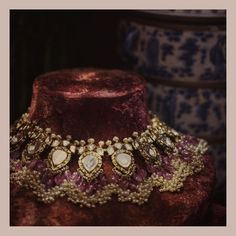 Bridal Jewelry Syndicate uncut diamond 'Champakali' necklace strung lavishly with rare spinels. Indian Wedding Jewelry, Indian Jewelry, Royal Jewelry, Diamond Jewelry, Gold Jewelry, Trendy Jewelry, Diamond Pendant, Diamond Rings, Jewelry Sets