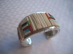 Exceptional DAVID TUNE Cobblestone Inlay & Heavy Gauge Sterling Silver Cuff BRACELET