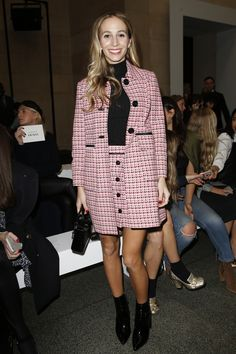 Harley Viera-Newton sitting front row at Topshop Unique Fall 2016