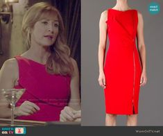 Maura's red zip front dress on Rizzoli and Isles.  Outfit Details: http://wornontv.net/51332/ #RizzoliandIsles