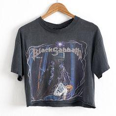 VTG 1992 Black Sabbath Concert Tour Crop Top T Shirt Sz. M Medium... ($200) ❤ liked on Polyvore featuring tops, t-shirts, cropped shirts, ripped t shirt, vintage tees, vintage t shirts and rock n roll t shirts
