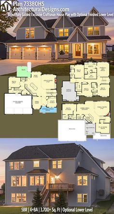 Architectural Designs Craftsman Plan 73380HS gives you 5+ beds, 4+ baths and over 3,600 sq. ft. of heated living space WITH an optional LOWER LEVEL (1,400+ sq. ft.). Ready when you are. Where do YOU want to build? #73380hs #adhouseplans #architecturaldesigns #houseplan #architecture #newhome #newconstruction #newhouse #homedesign #dreamhome #dreamhouse #homeplan #architecture #architect #housegoals #craftsmanfarmhouse #craftsmanhousestyle #craftsman