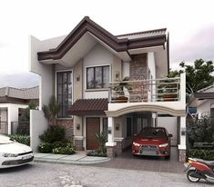 Modern house exterior design reflects the entire style of the space and the tradition as well Two Story House Design, 2 Storey House Design, Duplex House Design, Two Storey House, House Front Design, Small House Design, Modern Exterior House Designs, Dream House Exterior, Modern House Plans