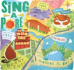Map of Singapore for Jamie Magazine, the official magazine of Chef Jamie Oliver AD: Adrienne Pitts
