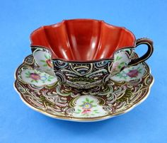 Rare Moriage Hinode Japan Tea Cup and Saucer