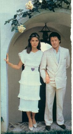 Princess Caroline and Phillip Junot. Another shot of the ruffed dress.