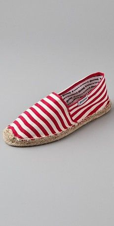 Soludos Woven Striped Flat Espadrilles, so boaty!  With white shirts red top blue overthrow!  All American!