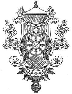 30 Buddhist Mandala Coloring Pages Mandalas Drawing, Mandala Coloring Pages, Coloring Book Pages, Printable Coloring Pages, Tibetan Symbols, Buddhist Symbols, Buddhist Art, Tibetan Tattoo, Tibetan Art
