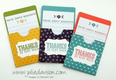 Julie's Stamping Spot -- Stampin' Up! Project Ideas Posted Daily: Gratitude for Days Pocket Thank You Cards