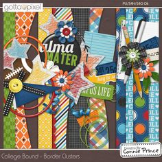 College Bound - Border Clusters :: Gotta Pixel Digital Scrapbook Store From Designs by Connie Prince