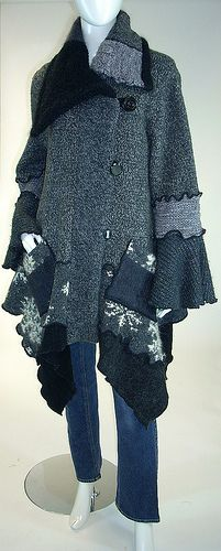 Sweater Coat, Grey and Black Tweed, Snowflake, Petunia Style,