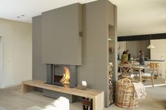 Creative Interior Design with Wood, 25 Firewood Storage Solutions Modern Fireplace, Fireplace Design, Fireplace Seating, Fireplace Wall, Home Living Room, Living Spaces, Firewood Storage, Wood Interior Design, Home Salon