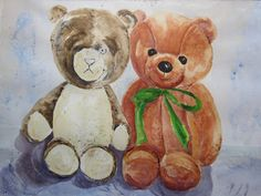 The Old and New Teddy Old And New, Old Things, Teddy Bear, Watercolor, Colour, Animals, Art, Pictures, Animales