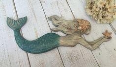 LARGE MERMAID DECOR/Nautical decor/Coastal/Beach Decor/Mermaid/Ocean wall Decor/Beach bathroom decor/Painted Mermaid/Swimming Mermaid/Aqua by LacyBellesBoutique on Etsy https://www.etsy.com/listing/289202223/large-mermaid-decornautical