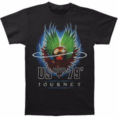 275772f3 Journey - Mens Us Tour 79 T-shirt Large Black: Poster art from Journey's  classic 17 U. Tour is featured on the front of this black, cotton t-shirt.