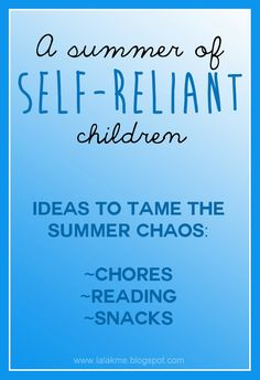 While planning summer activities for kids, make sure to teach them self-reliance in the process. Tame the summer chaos with ideas for summer reading, summer chores for kids, and summer snack solutions! Summer Activities For Kids, Summer Kids, Fun Activities, Summer School, Summer Daycare, Holiday Activities, Summer 2016, Raising Kids, Kids Education