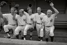 Aug They're all Yankee old-timers and retired as players. So are the numbers they wore when New York was burning up the American League. You know their faces (top, L-R) Mickey Mantle, Yogi Berra, Whitey Ford, Joe DiMaggio and Casey Stengel Baseball Star, Cardinals Baseball, Baseball Players, Football, Baseball Cards, New York Yankees Stadium, New York Yankees Baseball, Yogi Isms, Old Timers Day