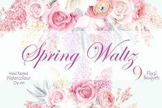 Spring Waltz Clipart by WatercolorSeasons on @creativemarket