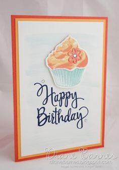 simple cupcake birthday card using Sweet Cupcake stamp & die bundle & Stylised Birthday stamp. 2016-17 annual catalogue. Card by…