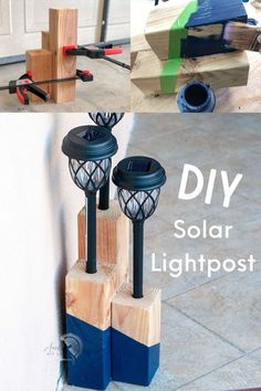 Your front yard needs this! DIY solar light post for the front yard, driveway or backyard! MAde from dollar store solar lights, this easy idea if amazing! Kreg Jig Projects, Scrap Wood Projects, Woodworking Projects That Sell, Diy Woodworking, Furniture Projects, Wood Projects For Beginners, Wood Working For Beginners, Wood Candle Holders, Diy Solar