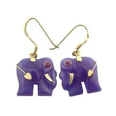 Lavender Jade Lucky Elephant Earrings 14k Gold