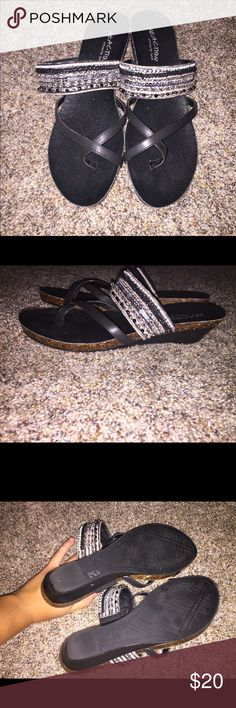Never Worn cute sandals! These super cute black sandals were sadly too big for me. In perfect condition, just need a new home! Not actually Burks, they are Kennith Cole reaction just did it there so more people would see it :)) Birkenstock Shoes Sandals