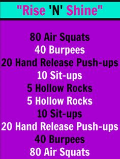 Good CrossFit workout for either the morning, if you want/need a short workout, and to build strength/fitness. Could use for interval training, as well.