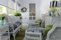 Screened porch decorating for Summer: On Sutton Place