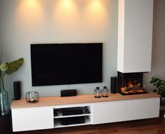 Home Fireplace, Living Room With Fireplace, Tv Unit, Interior Architecture, Decoration, Ikea, Sweet Home, Sideboard, New Homes
