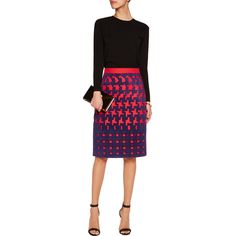 Mary Katrantzou Houndstooth-appliquéd wool-felt skirt ($628) ❤ liked on Polyvore featuring skirts, knee high skirts, woolen skirt, wool knee length skirts, wool houndstooth skirt and wool skirt