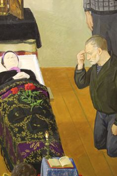 """The different figures in Dmitry Zhilinsky's """"Eternal Memory"""" are so expressive. They are in such contrast to the serene body of the deceased woman.  Each figure in the room seems to be deeply moved and some are quite literally hysterical. This man seems to have accepted the fate. Find this picture in the Institute of Russian Realist Art in Moscow."""