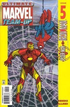 Ultimate Marvel Team-Up Marvel Comic books modern era cover Iron man spider man Mike Allred, Ultimate Marvel, Brian Michael Bendis, Spider Man 2, Iron Man Tony Stark, Nick Fury, Man O, Comic Covers, Marvel Universe