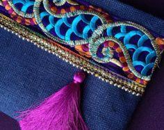 Brown embrague étnico marrón yute bolso hecho a por BOHOCHICBYDAMLA