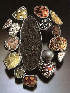 "Art Jewelry, Steve Ford and David Forlano, Artists, Rock 59, 2002  polymer clay, sterling silver glass  2 1/2 x 2 x 1/4"", Robert Diamante, photo"