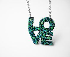 "Art Jewelry / love pendant, love sign, love jewelry, polymer clay, OOAK / ""Growing Love"" / I love this!"