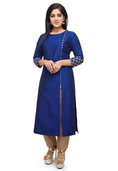 Readymade Cotton Silk Side Slit Long Kurta in Royal Blue This Round Neck and Quarter Sleeve attire Cotton Lining Plain Kurti Designs, Simple Kurta Designs, Silk Kurti Designs, Salwar Neck Designs, Churidar Designs, Kurta Neck Design, Kurta Designs Women, Dress Neck Designs, Kurti Designs Party Wear