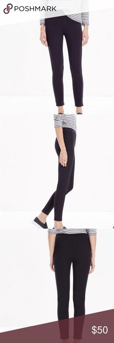 "Madewell Pieced Ponte Pant With cool pieced details (and handy back pockets), these pull-on ponte leggings have plenty of polish.   Sit at hip. Fitted through hip and thigh, with a slim leg. Front rise: 8 3/4"". Inseam: 26 1/2"". Leg opening for size 25: 8 1/2"". 68% viscose/27% nylon/5% spandex. Hand wash. Madewell Pants Leggings"