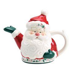 Winterberry Jolly Santa Teapot  Pfaltzgraff