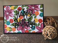 Stampin Up! Card, Happy Birthday, Thinlit, Garden in Bloom