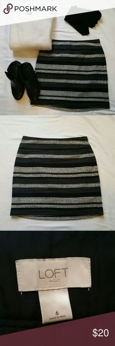 """Loft Multi Colored Striped Mini Skirt Size 6 Loft outlet skirt with chunky stripes of black, cream, blues, and greens. 18"""" from top to bottom and 7% wool. Looks great with boots, tights, and sweaters big and small. A beautiful fall/winter season skirt. LOFT Skirts Mini"""