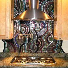 Decorative colorful mosaic kitchen backsplash idea