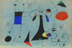 Joan Miró - Figure, Dog, Birds ( Personnage, Chien, Oiseaux ) 1946,  Gouache and watercolor on paper -  8 ¼ x 12 ¼ inches (21 x 31.1 cm)