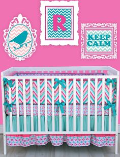 Sweet And Feminine Baby Girls Bedding Sets : Sweet Pink Turquoise White ZigZag Pattern Baby Girls Bedding Set Inspiration Offering Feminine ...