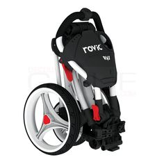 Lightweight cart equipped with full console, beverage holder and umbrella holder.  Rovic by ClicGear RV1C Compact Push Cart $179.99 | Discount Golf World